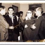 Celso Emilio, o segundo pola dereita, co ex vicepresidente de Venezuela, José Vicente Rangel, e o secretario do Partido Comunista Español de Venezuela en aquela época, Manuel Gallego. Caracas, 1969.