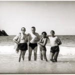 Celso Emilio, second from the left, with his friend Xosé Sesto and his wife Charo and Jaime Sesto, in the beach of Bahía de Cata. Caracas, 1966.