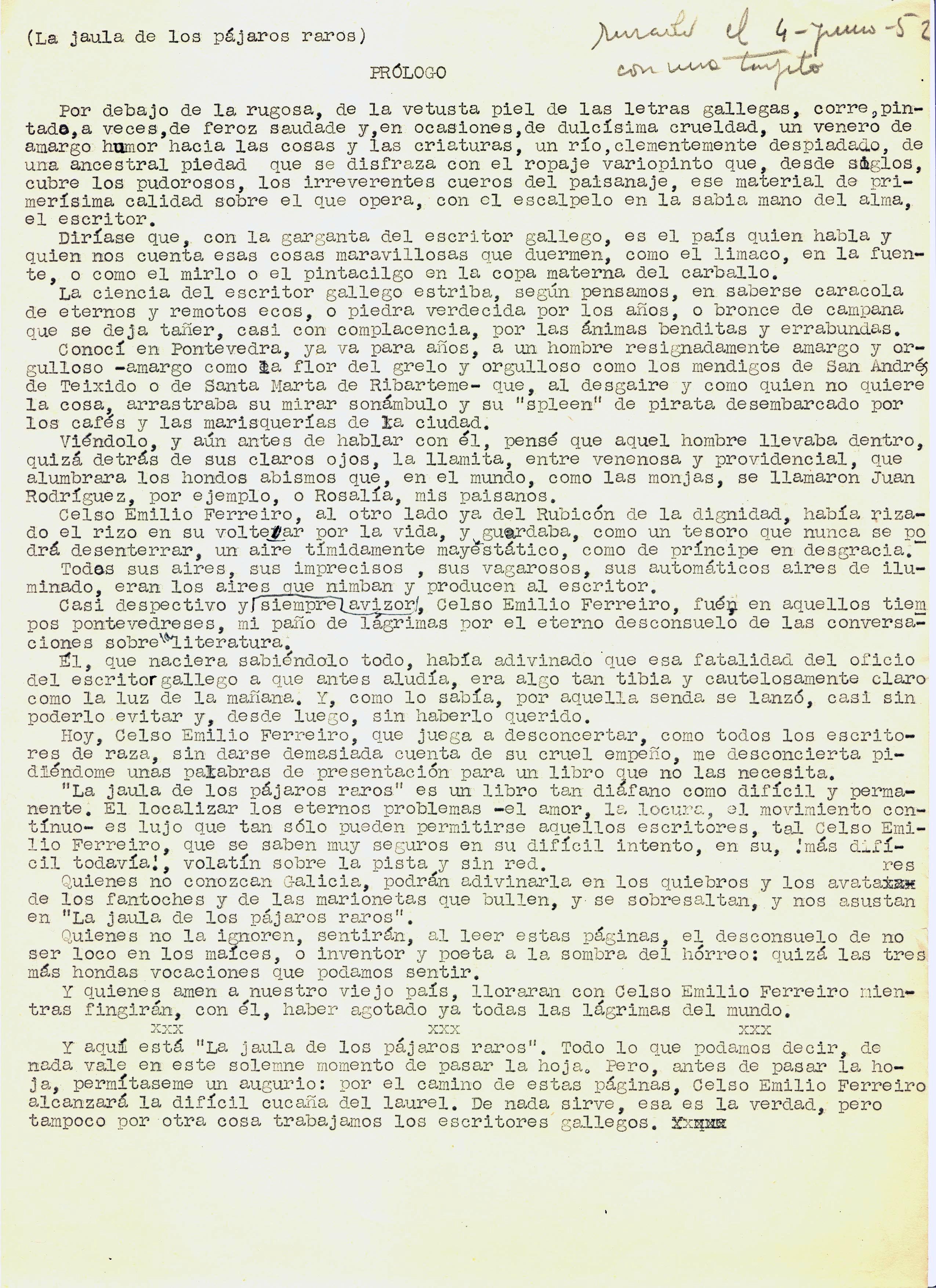 Prólogo de CJC a Celso Emilio Ferreiro_1952