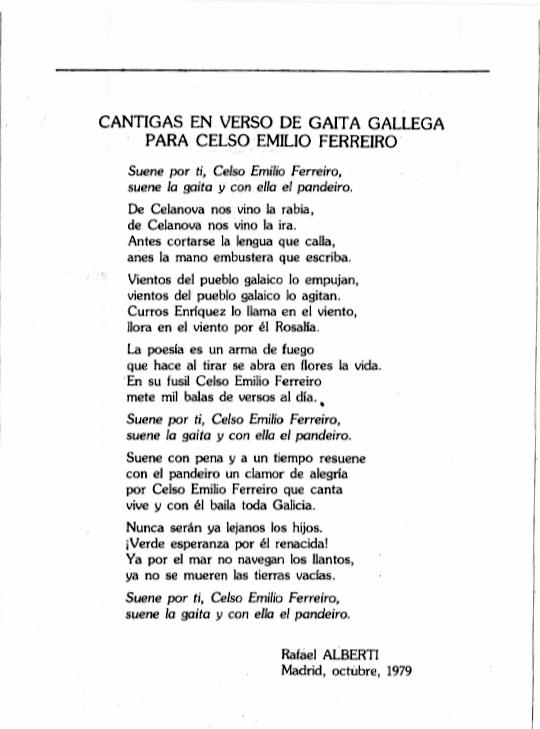 Rafael Alberti, Cantigas en verso de gaita galega para CEF