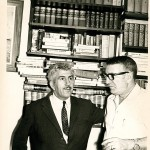 "In the library of his home in Caracas in 1970 accompanied by Xulio Formoso, journalist and in those days chief of press of the Department of Mines of Venezuela. His son put music to Celso Emilio's poem ""O dedo na chaga""."