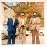 Luís Soto, Celso Emilio e Manuel María nunha festa en San Pedro de Rocas (Esgos, Ourense) en setembro de 1973.