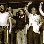 Fermín Bouza, Bibiano, Celso Emilio e Carme Santos Castroviejo, no acto unitario celebrado o Día da Patria Galega de 1977 na carballeira de Santa Susana en Compostela. © Xurxo Lobato