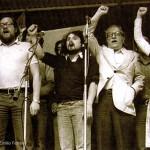 "Fermín Bouza, Bibiano, Celso Emilio and Carme Santos Castroviejo, in a unitary event celebrated the Día da Patria Galega of 1977 in the ""carballeira"" Santa Susana in Compostela. © Xurxo Lobato"