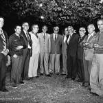 Conferencia de Celso Emilio Ferreiro, el cuarto por la izquierda, en el Liceo de Artesanos de Monelos en 1978. Aparecen también en la foto Marino Donega, Raúl Grien, Bocelo, el pintor José Luis y Andrés José Sánchez Díaz.