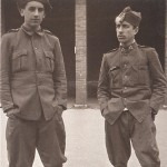 Celso Emilio, at the right, called to war in Gijón, 1937.