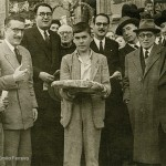 Celso Emilio, first from the left, Filgueira Valverde, Pache, Luis Maria Iglesias Vilarelle, Juan Novoa and Ramon Peña in the Festa dos Maios of 1945.