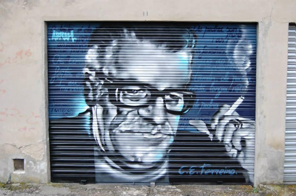 Grafitti de Celso Emilio en Ourense