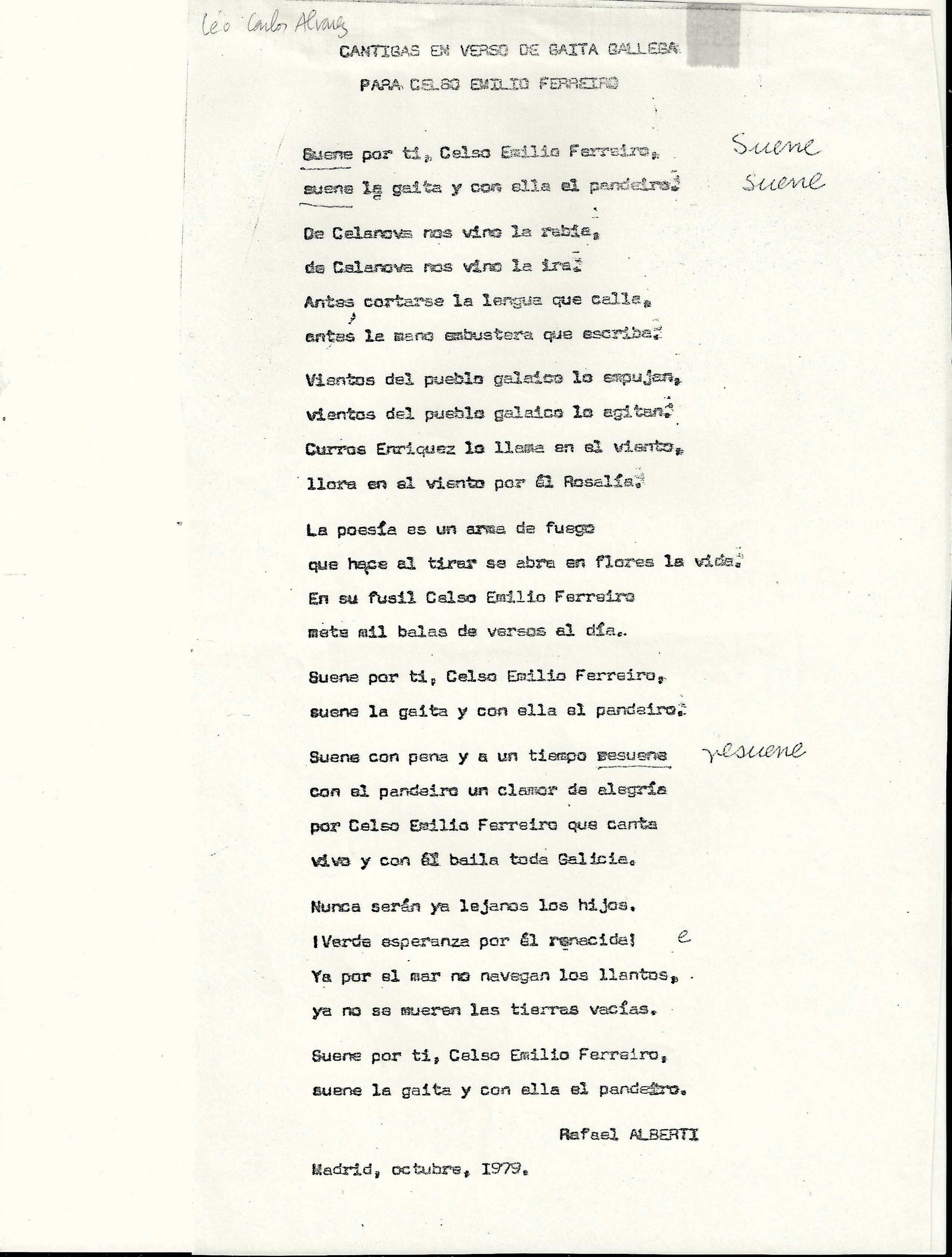 Rafael Alberti, Cantigas en verso de gaita galega para CEF (Ori